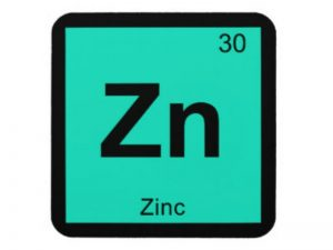 zn zinc in periodic table with green background