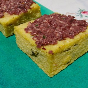 Polenta with homemade tapenade