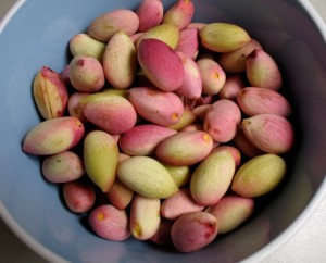 Fresh pistachios in their shells