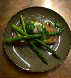 Sydney ariport: avocado, asparagus and poached egg on rye. Most healthful option (unless a coeliac).