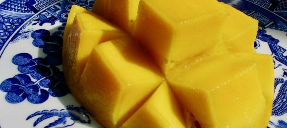 healthy recipes by Gill Stannard Naturopath picture of mango halve on a blue plate