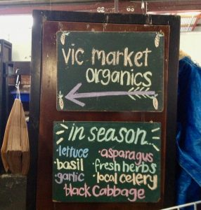 vic market organics sign , lettuce asparagus herbs garlic