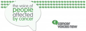 "cancer voices nsw logo voice bubble ""the voice of people affected by cancer"""
