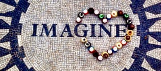 imagine image in central park with love heart in buttons
