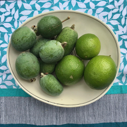 feijoas and limes in a a symetrical white bowl on patterned background