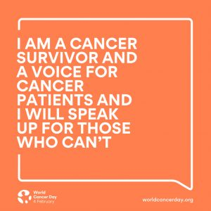 I am a cancer survivor and a voice for cancer patients and I will speak up for those who can't quote on orange background