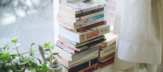 pyramid of books on white window sill in front of window with pot plants