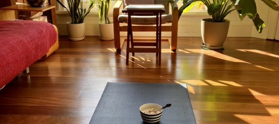 Yoga mat with bowl and spoon in light filled room